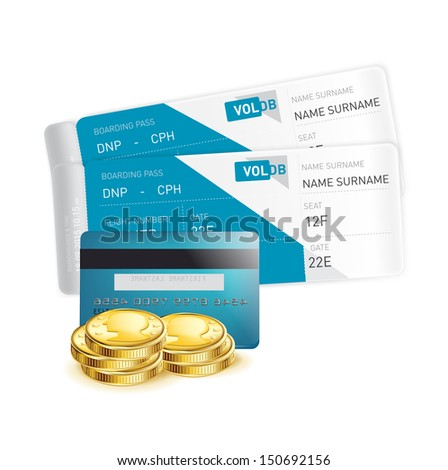 plane tickets with credit card and coins isolated - stock vector