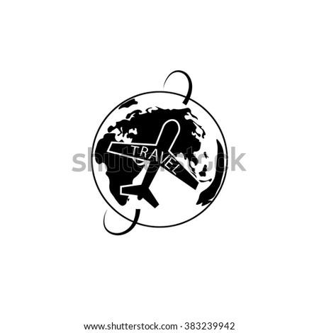 Plane travel  Icon - stock vector