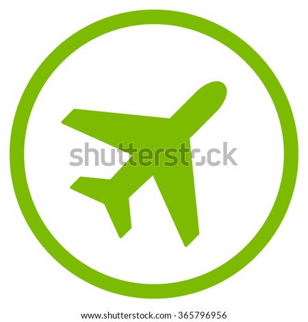 Plane vector icon. Style is flat circled symbol, eco green color, rounded angles, white background.
