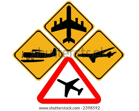 Plane warning signs including jet and float planes