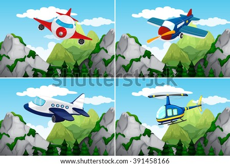 Planes and helicopter flying over the mountains illustration