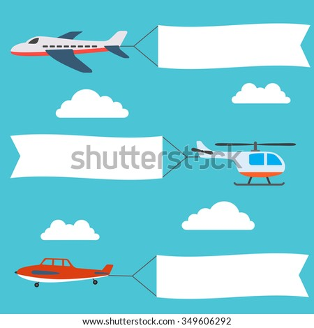 planes and helicopters set with the banners - stock vector