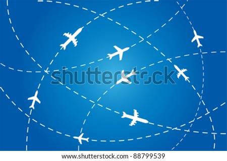 Planes en route to their destination - stock vector