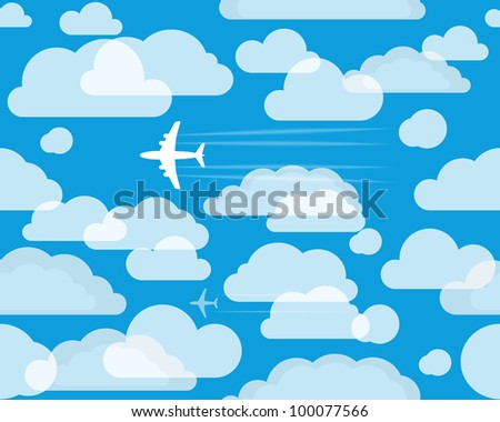 Planes in the cloudly sky - stock vector