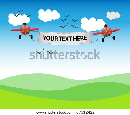 Planes with message - stock vector