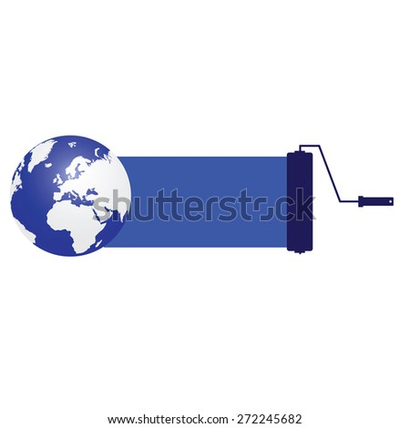 planet blue with roller vector - stock vector