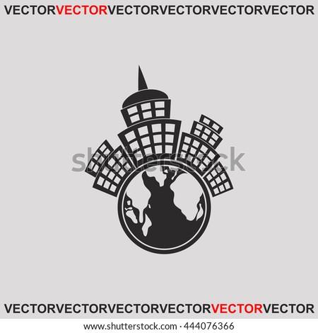 Planet city icon. Grey image on grey background. Web icon. - stock vector