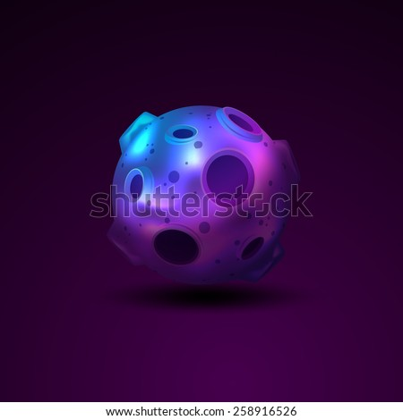Planet 3d sphere with craters isolated on dark background vector illustration - stock vector