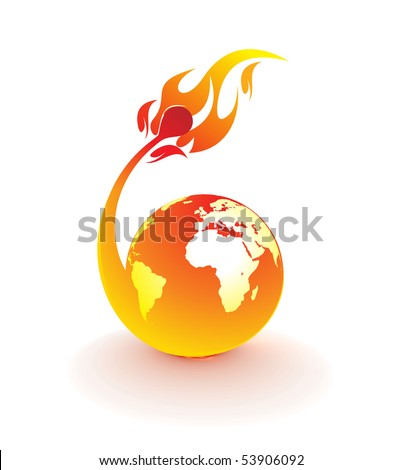 planet earth being consumed by a flame , vector illustration - stock vector