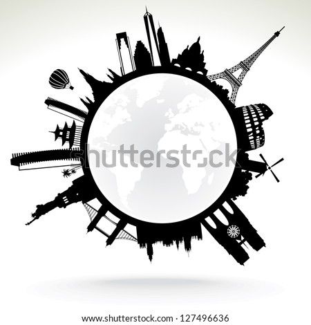 planet earth - black and white vector illustration - stock vector