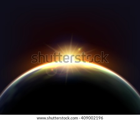 Planet earth cosmic night view with sunshine light on the globe surface astronomic realistic poster vector illustration