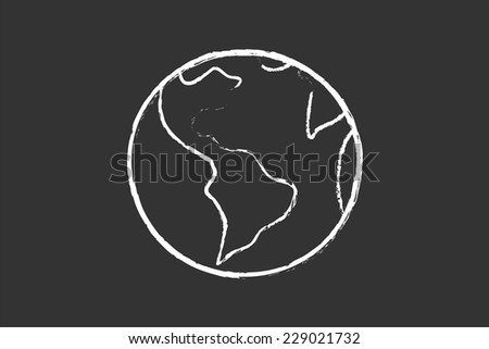 Planet Earth Drawing On School Blackboard - stock vector
