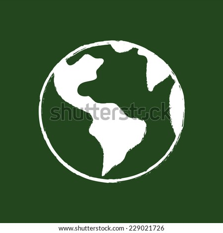 Planet Earth Drawing On School Chalkboard - stock vector