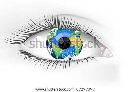 Planet Earth Eye Vector Desaturated - stock vector