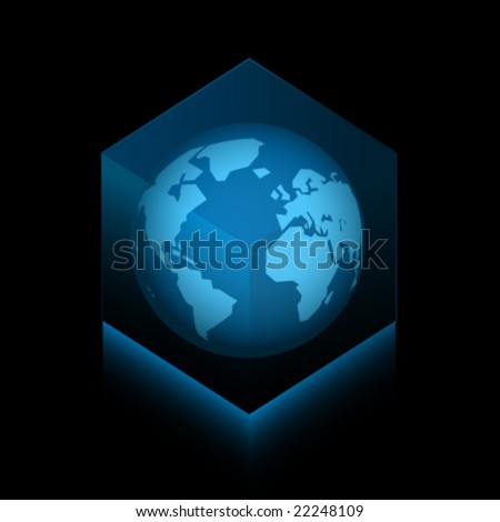 Planet Earth in a vector cube - stock vector