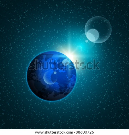 Planet Earth in deep space against the background stars, with highlights