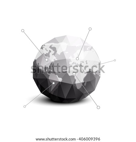Planet earth in gray polygon style. Vector template for business. Template Earth map. Icon planet earth. Earth logo. Infographic map earth. Images of all the continents on planet earth. Vector earth.  - stock vector