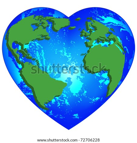 Planet Earth Heart Shapevector Stock Vector 72706228 ...