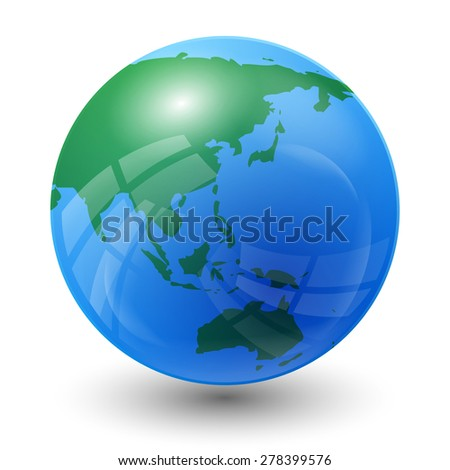 planet earth map - Asia and Oceania view - stock vector