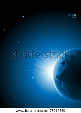 Planet earth on a space background - stock vector
