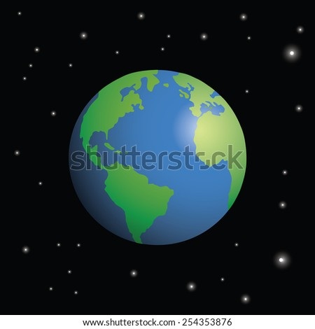 Planet Earth seen from space, surrounded by stars. - stock vector