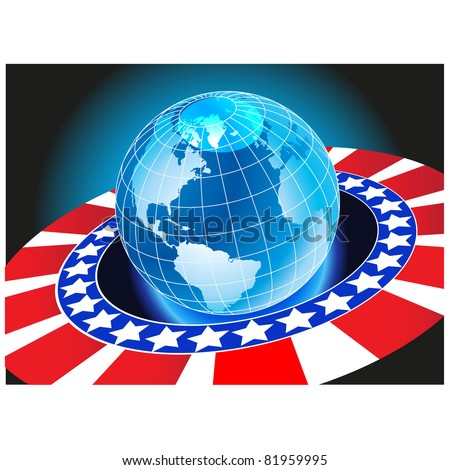 Planet earth to the flag of America because of the ring.Vector