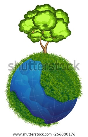 Planet earth with a tree and grass on white background. Ecology concept.  Earth Day illustration. - stock vector