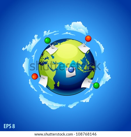 Planet earth with a vector note paper and pins - stock vector