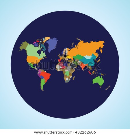 planet earth with all countries - stock vector
