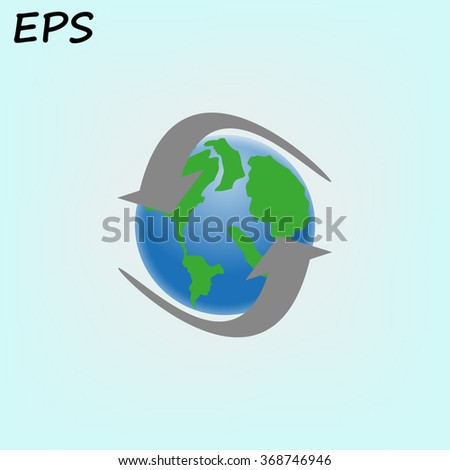 planet earth with arrows, vector illustration