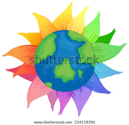 Planet Earth with flowers on a white background  - stock vector