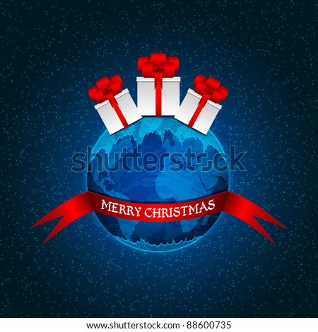 Planet Earth with gift boxes and a red ribbon - stock vector