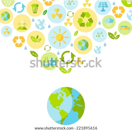 Planet earth with nature icons in flat style  - stock vector