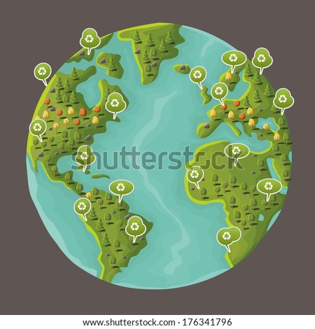 Planet earth with speech balloon with recycle icon. Green world.  - stock vector