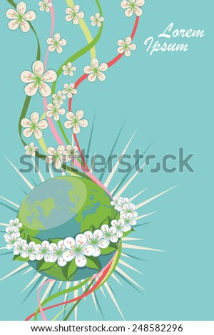 Planet earth with spring flowers wreath.Composition of cherry flowers ,curly ribbons Vector vertical Illustration,banner,template for wedding,mother day,easter.Cute card,invitation.Modern flat style - stock vector