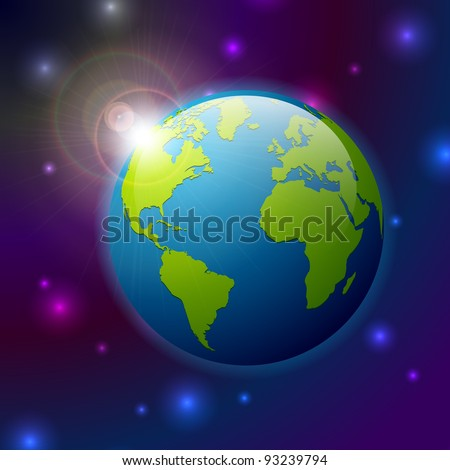 Planet Earth with sun in the universe - stock vector
