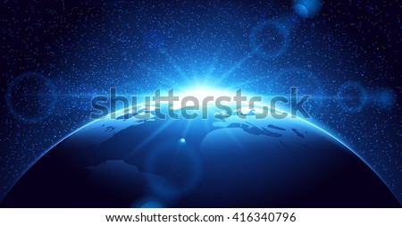 Planet earth with sunrise - stock vector