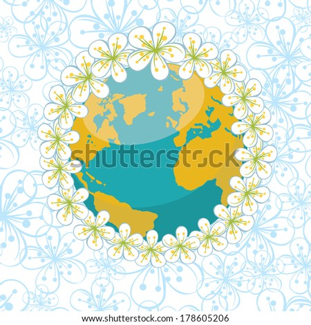 Planet earth with wreath of spring flowers.Spring background of flowers of cherry or Apple on flowers ornament background. Vector Illustration - stock vector