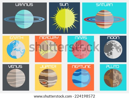 PLANET FLAT DESIGN - stock vector