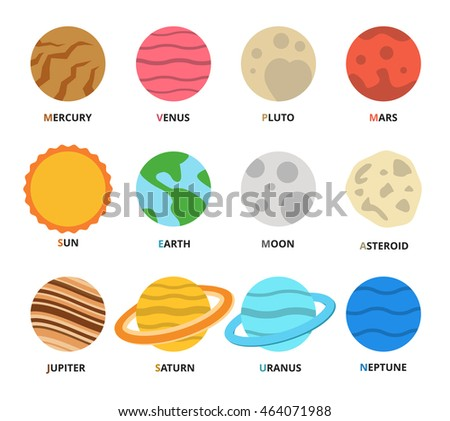 Planet Icon Set Planets Names Mercury Stock Vector ...