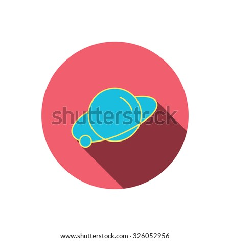 Planet icon. World globe sign. Astronomy symbol. Red flat circle button. Linear icon with shadow. Vector - stock vector
