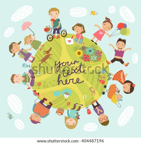 Planet of children. Vector illustration with cute kids - stock vector