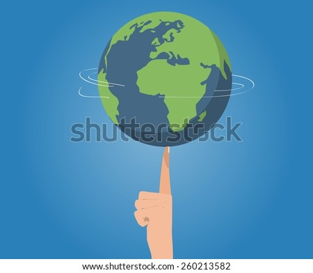 Planet rotation on finger - stock vector