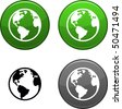 Planet round buttons. Black icon included. - stock vector