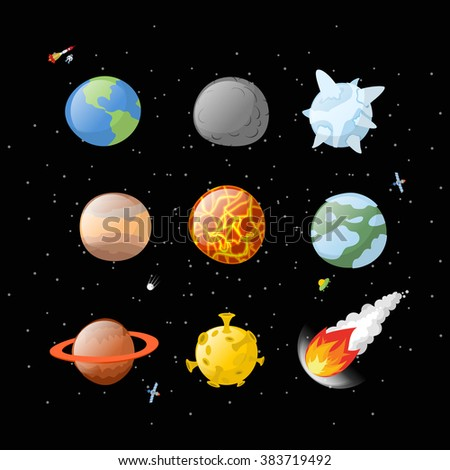 Planet set dark background. Dark space. Planets of solar system by having Earth, Jupiter. Mars and the Sun. falling meteorite. Fireball asteroid. Yellow Moon. Planet icons isolated. Astronomy objects - stock vector