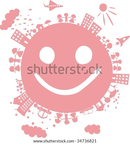 planet smiling - stock vector