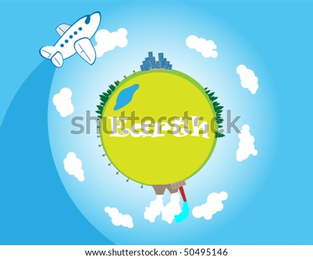 Planet the earth and the flying plane. Color illustration.