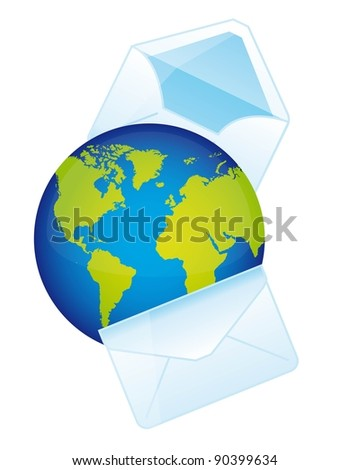 planet with envelope over white background. vector illustration - stock vector