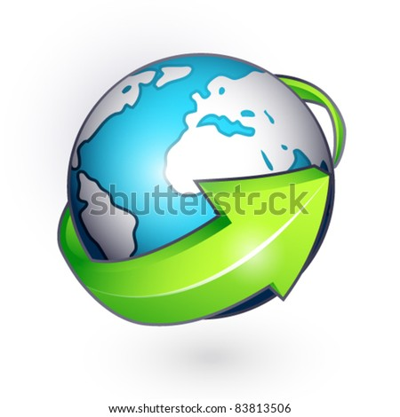 Planet with green arrow on a white background - stock vector