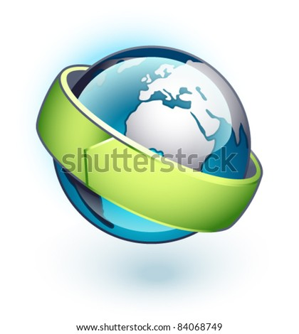 Planet with green line on a white background The base map is from http://www.lib.utexas.edu/maps/world_maps/txu-oclc-264266980-world_pol_2008-2.jpg - stock vector